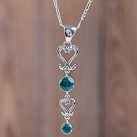 Chrysocolla pendant necklace, 'Cuzco Heart' - Handcrafted Chrysocolla Necklace with Silver Sterling Hearts