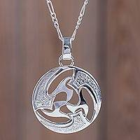 Sterling silver pendant necklace, 'Universe in Motion'