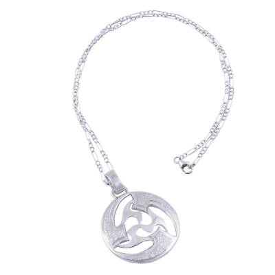 Sterling silver pendant necklace, 'Universe in Motion' - Modern Abstract Andean Silver Pendant Necklace