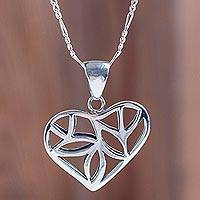 Sterling silver heart necklace, 'Nature of Love' - Artisan Crafted Fair Trade Sterling Silver Heart Necklace