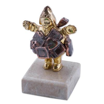 Bronze paperweight, 'Andean Ekeko' - Artisan Crafted Andean Theme Bronze Ekeko Paperweight