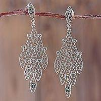 Sterling silver filigree chandelier earrings, 'Falling Leaves of Lace' - Andean Silver Filigree Chandelier Earrings Crafted by Hand