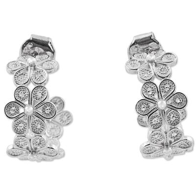 Sterling silver filigree half-hoop earrings, 'Falling Flowers' - Andean Silver Filigree Artisan Crafted Half Hoop Earrings