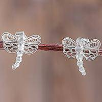 Sterling silver button earrings, 'Shining Filigree Dragonfly' - Sterling Silver Filigree Dragonfly Earrings Crafted by Hand