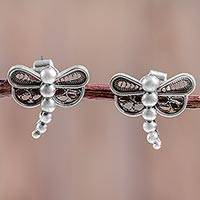 Sterling silver button earrings, 'Dark Filigree Dragonfly' - Silver Filigree Handcrafted Dragonfly Earrings