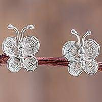 Sterling silver filigree button earrings, 'Bright Baby Butterfly' - Filigree Butterfly Button Earrings in Sterling Silver