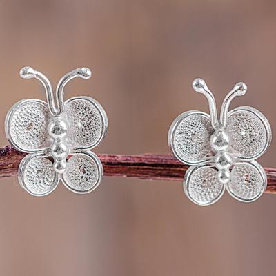 Sterling silver filigree button earrings, 'Bright Baby Butterfly' - Filigree Butterfly Button Earrings in Sterling Silver