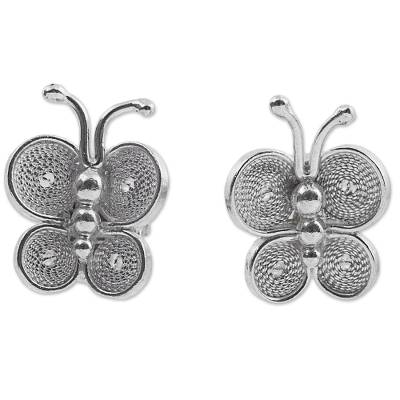 Filigree Butterfly Button Earrings in Sterling Silver