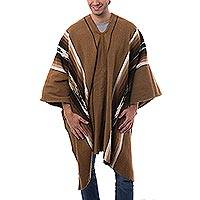 Men's alpaca blend poncho, 'Golden Brown Celebration'