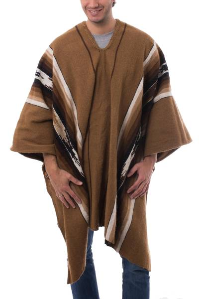 Men's alpaca blend poncho, 'Golden Brown Celebration' - Handwoven Men's Alpaca Blend Wool Golden Brown Poncho