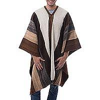 Men's 100% alpaca poncho, 'Andean Celebration' - Men's Andean 100% Alpaca Handwoven Poncho in Earth Shades