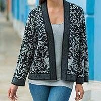 100% alpaca cardigan, 'Garden in Shadows' - Baby Alpaca Knit Women's Open Cardigan in Black and Grey