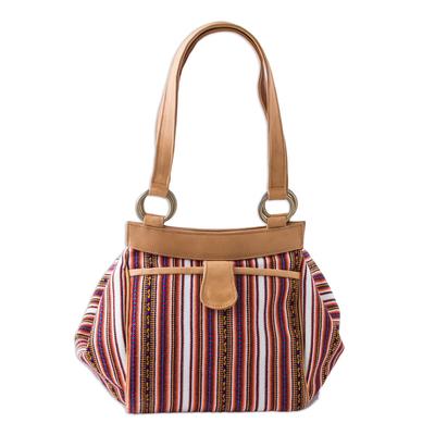Leather accented wool blend shoulder bag, 'Andean Journey' - Leather Accented Striped Wool Blend Shoulder Bag