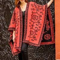 Reversible 100% alpaca ruana, 'Floral Romance in Light Red' - 100% Alpaca Wool Ruana Light Red Black Floral Motif Peru