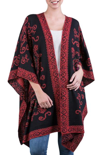 Reversible 100% alpaca ruana, 'Floral Romance' - 100% Alpaca Wool Ruana Light Red Black Floral Motif Peru
