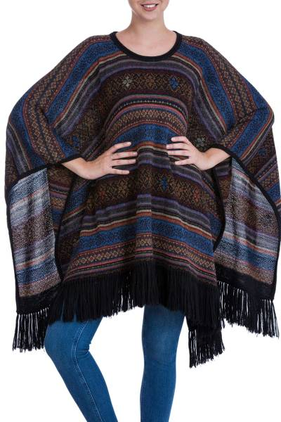 100% alpaca poncho, 'Multicolored Spirit' - 100% Alpaca Poncho Jacquard Multicolored from Peru