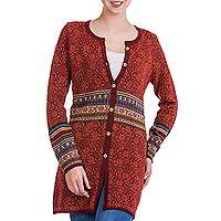 100% alpaca cardigan, 'Wine Red Romance' - 100% Alpaca Cardigan in Wine Floral Motifs from Peru