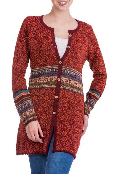 100% alpaca cardigan, 'Wine Red Romance' - 100% Alpaca Cardigan in Wine Floral Motifs from Peru