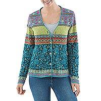 100% alpaca cardigan, 'Peruvian Passion in Teal' - 100% Alpaca Multicolored Floral Cardigan from Peru