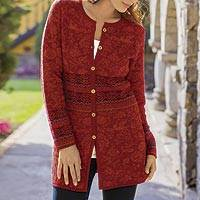 100% alpaca cardigan, 'Cherry Red Romance' - 100% Alpaca Cardigan in Cherry Red Floral from Peru