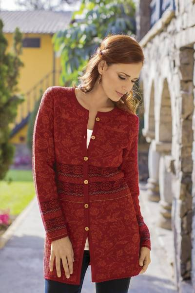 100% alpaca cardigan, 'Cherry Romance' - 100% Alpaca Cardigan in Cherry Red Floral from Peru