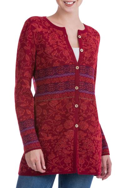 100% baby alpaca cardigan, 'Cherry Romance' - 100% Baby Alpaca Cardigan in Cherry Red Floral from Peru