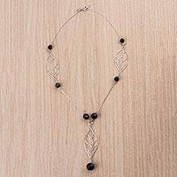 Obsidian Y necklace, 'Leafy Black' - Sterling Silver and Obsidian Pendant Y Necklace from Peru