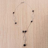 Obsidian Y necklace,