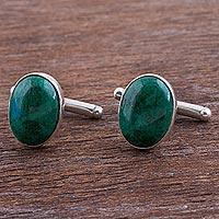Chrysocolla cufflinks, 'Oval Green' - Sterling Silver and Chrysocolla Cufflinks from Peru