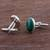 Chrysocolla cufflinks, 'Oval Green' - Sterling Silver and Chrysocolla Cufflinks from Peru (image 2b) thumbail