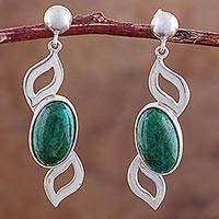 Chrysocolla dangle earrings, 'Leafy Green' - Sterling Silver and Chrysocolla Dangle Earrings from Peru