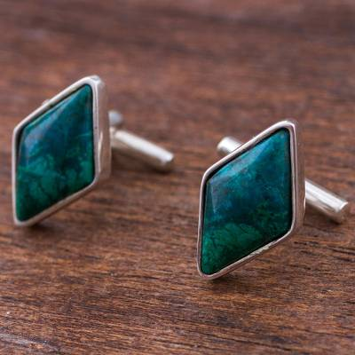 Chrysocolla cufflinks, 'Cool River' - Sterling Silver and Chrysocolla Rhombus Cufflinks from Peru