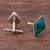 Chrysocolla cufflinks, 'Cool River' - Sterling Silver and Chrysocolla Rhombus Cufflinks from Peru (image 2b) thumbail