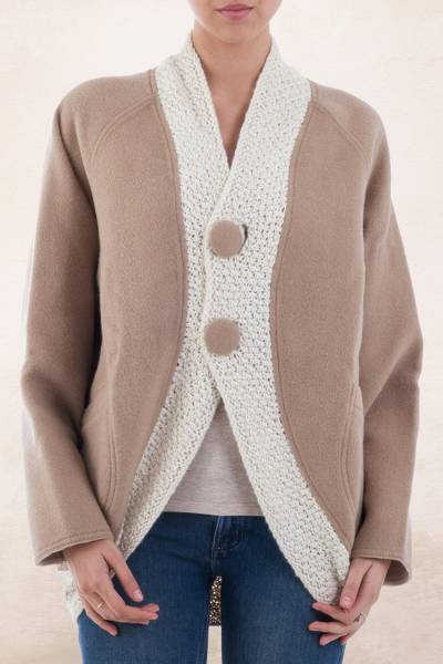 Reversible 100% alpaca coat, 'Winter Respite' - Hand Woven Reversible Alpaca Coat White and Tan from Peru
