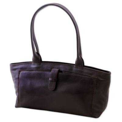 Espresso Brown Baguette Bag Crafted of Quality Leather