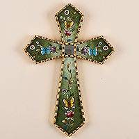 Reverse painted glass cross, 'By the Field of Flowers' - Green Floral Mohena Wood Cross with Mirror from Peru