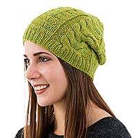 Alpaca blend hat, 'Warm Olive Braids' - Hand Knit Braided Alpaca Blend Hat in Warm Olive