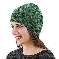 Alpaca blend hat, 'Emerald Braids' - Hand Knit Green Alpaca Blend Hat Peruvian Accessories