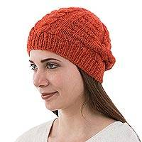 Alpaca blend hat, 'Tangerine Braids' - Hand Knit Orange Hat in an Alpaca Blend