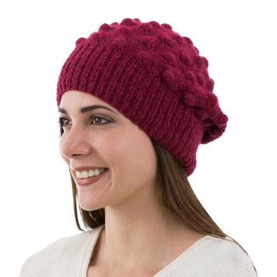 Burgundy Alpaca Blend Hat Original Design Knit by Hand