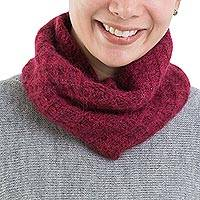 Alpaca blend neck warmer, 'Lyrical Burgundy' - Fair Trade Hand Knit Alpaca Blend Neck Warmer in Burgundy