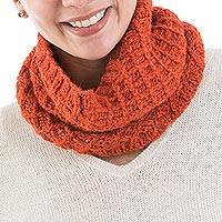 Alpaca blend neck warmer, 'Lyrical Nasturtium' - Fair Trade Hand Knitted Alpaca Orange Neck Warmer from Peru