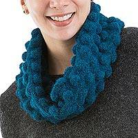 Alpaca blend neck warmer, 'Teal Bubbles' - Teal Alpaca Blend Neck Warmer Knit by Hand in Peru
