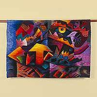 Wool tapestry, 'Edge of the Sea' - 100% Wool Hand Woven Abstract Tapestry from Peru