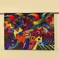 Wool tapestry, 'The Revelation' - Hand Woven Multicolored Abstract Wool Tapestry from Peru