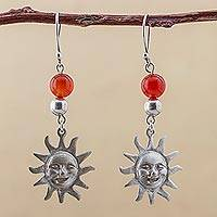 Agate dangle earrings, 'Expressive Sun' - 925 Silver and Red Agate Hook Earrings Suns from Peru