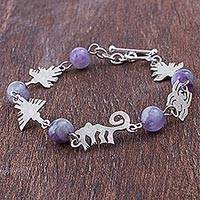 Amethyst link bracelet, 'Born of the Night' - Silver Amethyst Animal Link Bracelet from Peru