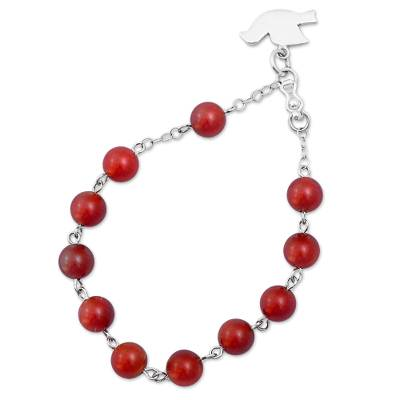 Red Agate and Silver Beaded Bracelet Dove from Peru