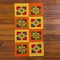 Wool area rug, 'Square and Cross' (2x4) - Multicolor Wool 2x4 Area Rug Handmade in Peru