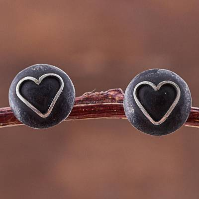 Sterling silver button earrings, 'Lunar Hearts' - Sterling Silver Heart Shaped Button Earrings from Peru